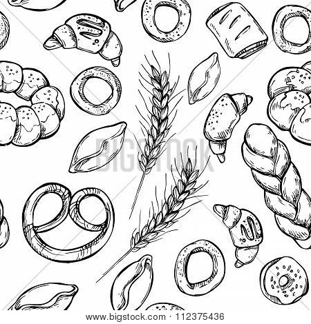 Hand Drawn Vintage Vector Seamless Pattern - Bakery Shop. Grocery Store. Organic Food.