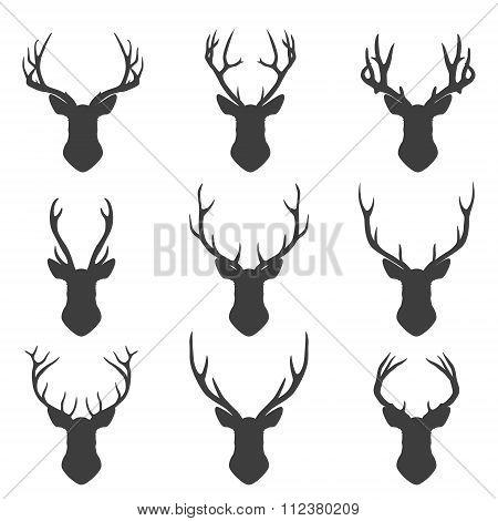 Set of deer silhouettes