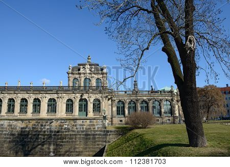 South-eastern Side Of Zwinger From Ostra-allee In Dresden, Saxony, Germany.
