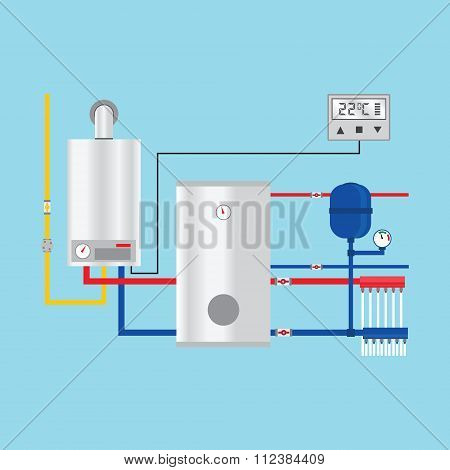 Energy Efficient Heating System With Thermostat. Vector.