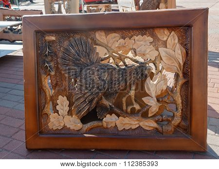 Kiev, Ukraine - September 22, 2015: Work Of Masters Of Woodcarving In The Exhibition Of Woodworking