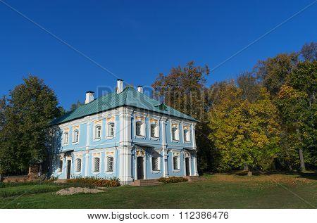 Russia Smolensk region Griboyedov Manor Hmelita outbuilding. poster