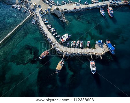 Arial View Of Marina With Boats On The Bay Of Zakynthos, Greece
