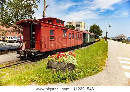 Train Museum Display Along Bike Trail In Portland, Maine
