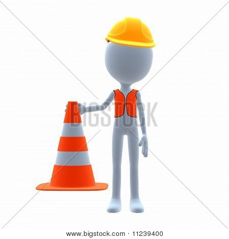 3D construction guy on a white background poster