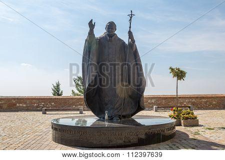 Statue Of Pope John Paul Ii In Nitra, Slovak Republic, Central Europe.