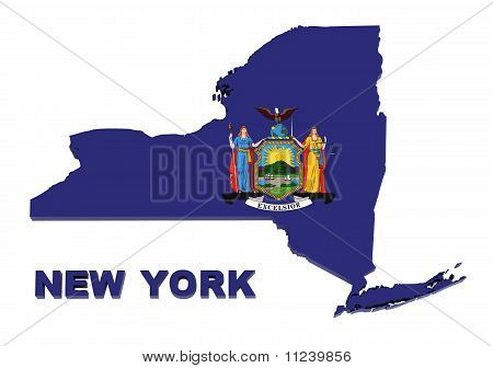 New York State, Map with Flag, Isolated on White