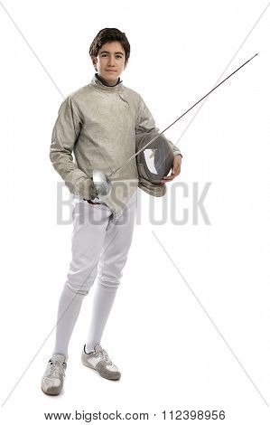 Full length image of a teen foil fencer isolated on white background.