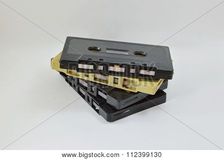 cassette tape recorder on white background