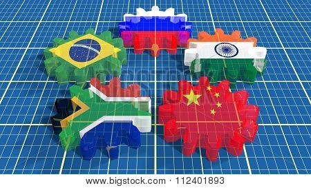Brics Union Members National Flags On Gears