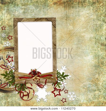 Christmas Card In Ancient Style For A Photo, Congratulations And Greetings