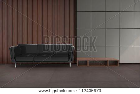 Living room Minimal Black Chair And Wall