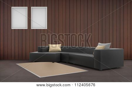 living room Minimal Black Sofa Desing and two picture frame