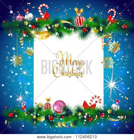 Winter holiday frame. Luxury festive Christmas tree with place for text. Christmas design for card, banner,ticket, leaflet and so on.