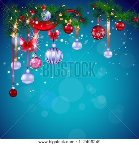 Blue Christmas card with decoration. Bright background with place for text. Holiday design for card, banner,ticket, leaflet and so on.
