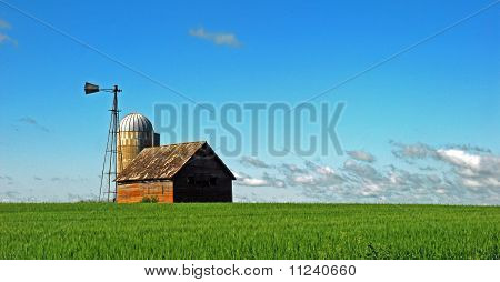 Old barn, silo and windmill