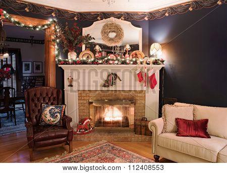 Victorian Christmas Fireplace Corner