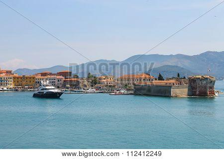 Portoferraio Habour From The Sea, Elba Island, Tuscany, Italy