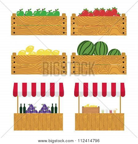 Wooden Box With Apples, Tomatoes, Lemons, Watermelons. Tent On The Market, Farm Products, Wine And G