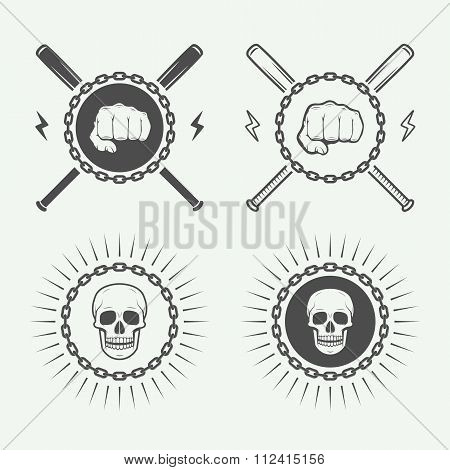 Set Of Vintage Fighting Or Martial Arts Logo, Emblems Badges, Labels And Design Elements.