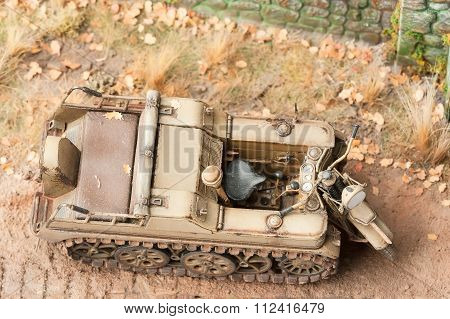 Semi-caterpillar motorcycle SdKfz 2. Top view