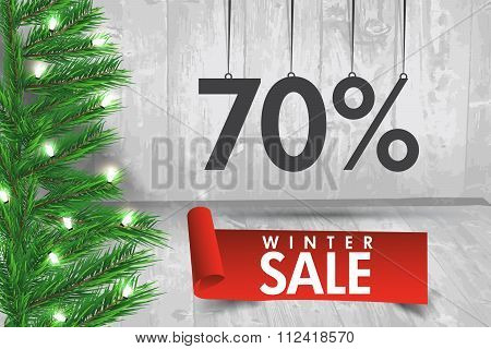 Winter Sale 70 Percent. Winter Sale Background With Red Ribbon Banner And Snow. Sale. Winter Sale. C