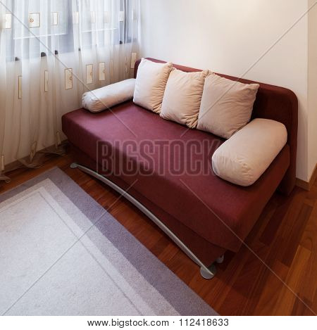 guest room of a modern apartment, divan bed poster