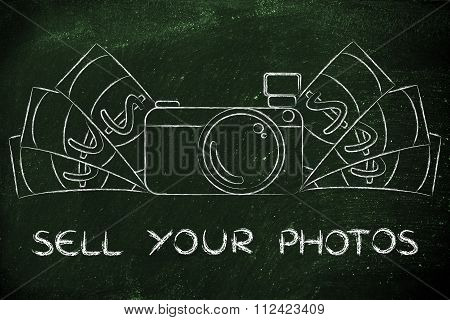 Camera Surrounded By Cash, With Text Sell Your Photos