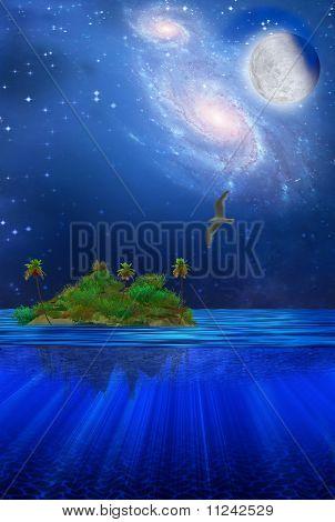 High Resolution Dream Like Scene Floating Tropical Island poster