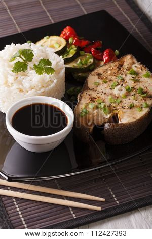 Healthy Food: Steak Fish, Rice And Soy Sauce Close-up. Vertical