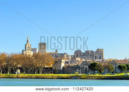Skyline Of Avignon With Gothic Building Of The Popes Palace