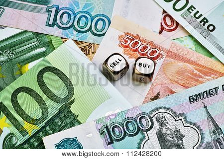 Russian Ruble, Euro Banknotes And Dices Cubes