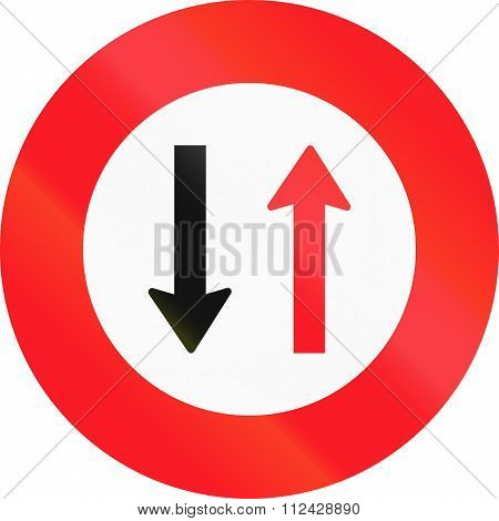 Road Sign Used In Switzerland - Give Way To Oncoming Traffic