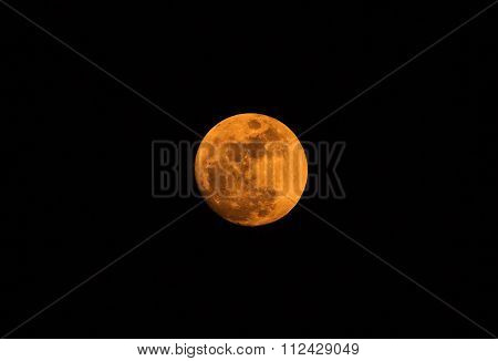 Yellowish red moon captured on a a clear sky night from Bangalore on December 24th, 2015