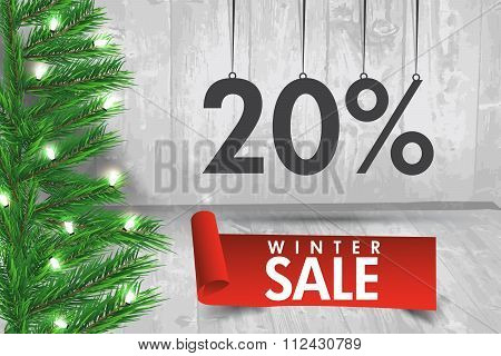 Winter Sale 20 Percent. Winter Sale Background With Red Ribbon Banner And Snow. Sale. Winter Sale. C