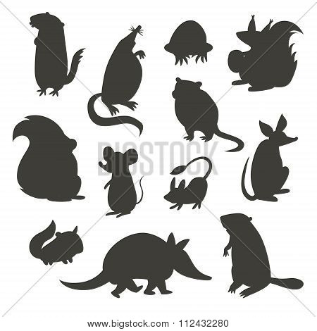 Set of rodent gray silhouettes. Vector illustration isolated on a white background.