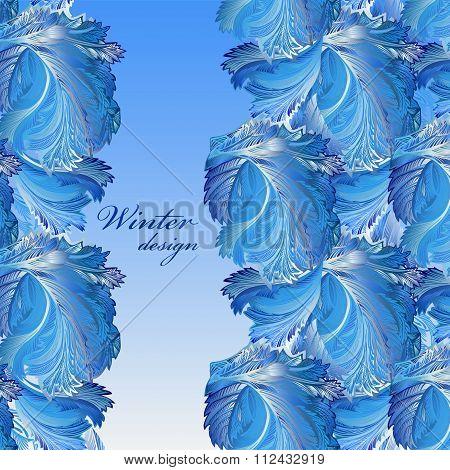 Winter frozen glass background. Stripe border design. Text place.