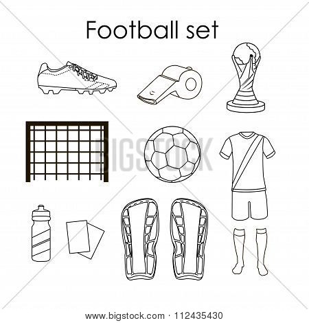 Soccer icons set. Football isolated design elements in flat style on white background. Boots, ball,