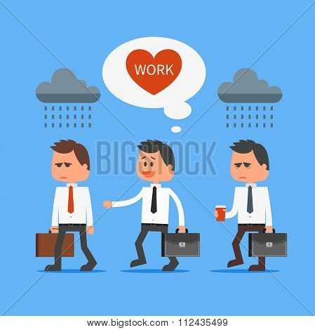 Cartoon office worker loves his work outstanding from crowd. Vector concept illustration in flat des
