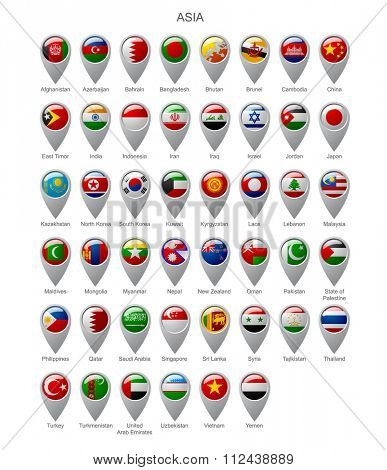 Map marker set with state flags of sovereign countries of Asia with captions in alphabet order isolated on white background