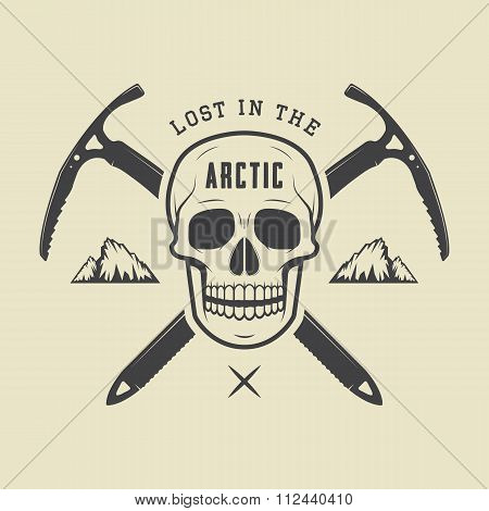 Vintage Arctic Skull With Ice Axes, Mountains And Slogan. Vector Illustration