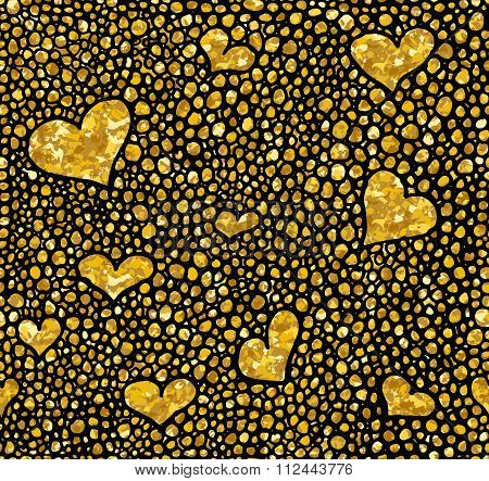 Hand Drawn Dotted Seamless Gold Glitter Pattern. Brush Herts And Dots Seamless Pattern, Vector Illus
