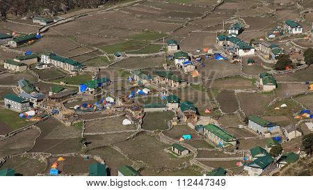 Houses And Field In The Sherpa Village Khumjung. Sad Scene After The Earthquakes In Spring 2015.