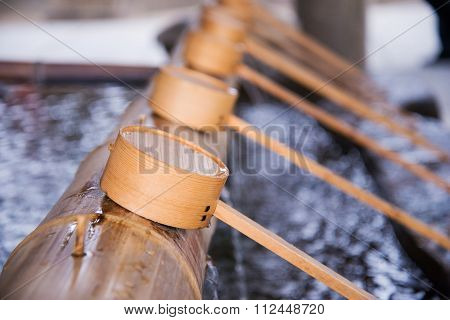 Water Dipper For Hand Cleanse In Japanese Temple