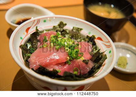 Fresh Tuna Sashimi With Rice In A Bowl