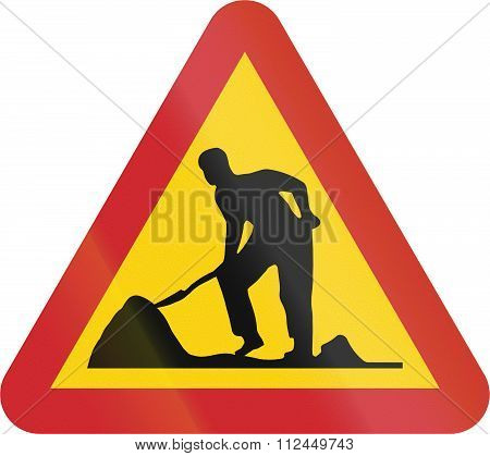 Road Sign Used In Sweden - Roadworks