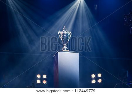 Championship first prize trophy on a pedestal