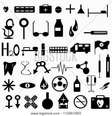 Medicine Symbols Collection Vector Illustration