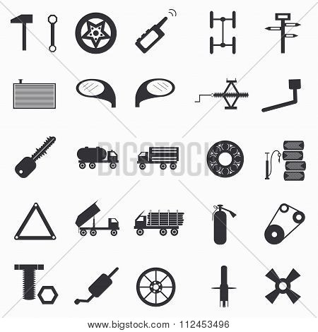 Automotive Paraphernalia Set Of Abstract Symbols Vector Illustration
