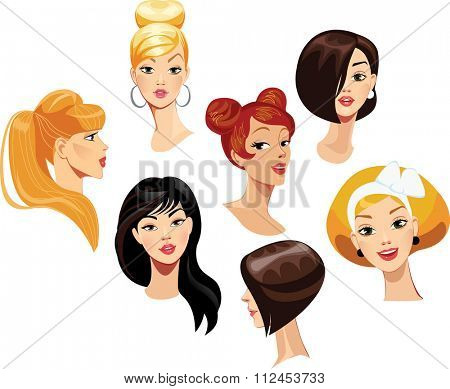 vector portraits of faces girls